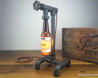 Cerveza botella lámpara iluminación por newwineoldbottles en Etsy