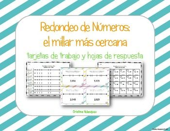 [[Spanish Rounding Task Cards]] Redondeo al Millar: tarjetas de trabajo This product has been written is 100% Spanish for use in a dual language, immersion, or native Spanish speaking classrooms. This product can be used as a station or