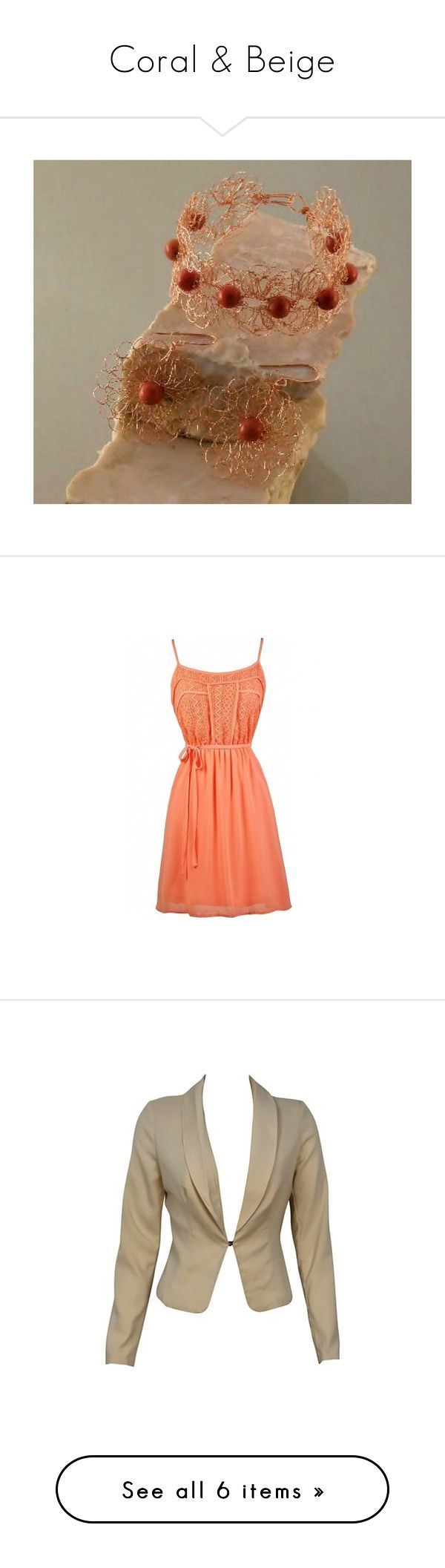 """Coral & Beige"" by styledonna on Polyvore featuring dresses, lace print dress, summer dresses, summer cocktail dresses, coral dress, orange dress, outerwear, jackets, blazers i beige"