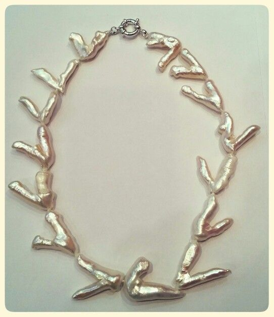 Collar de perlas barrocas y cierre en plata