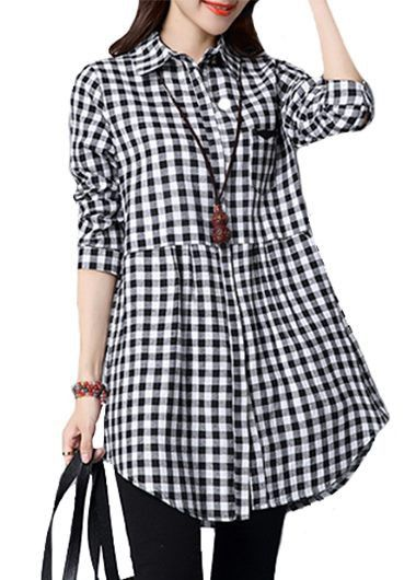 Turndown Collar Button Closure Plaid Print Curved Shirt