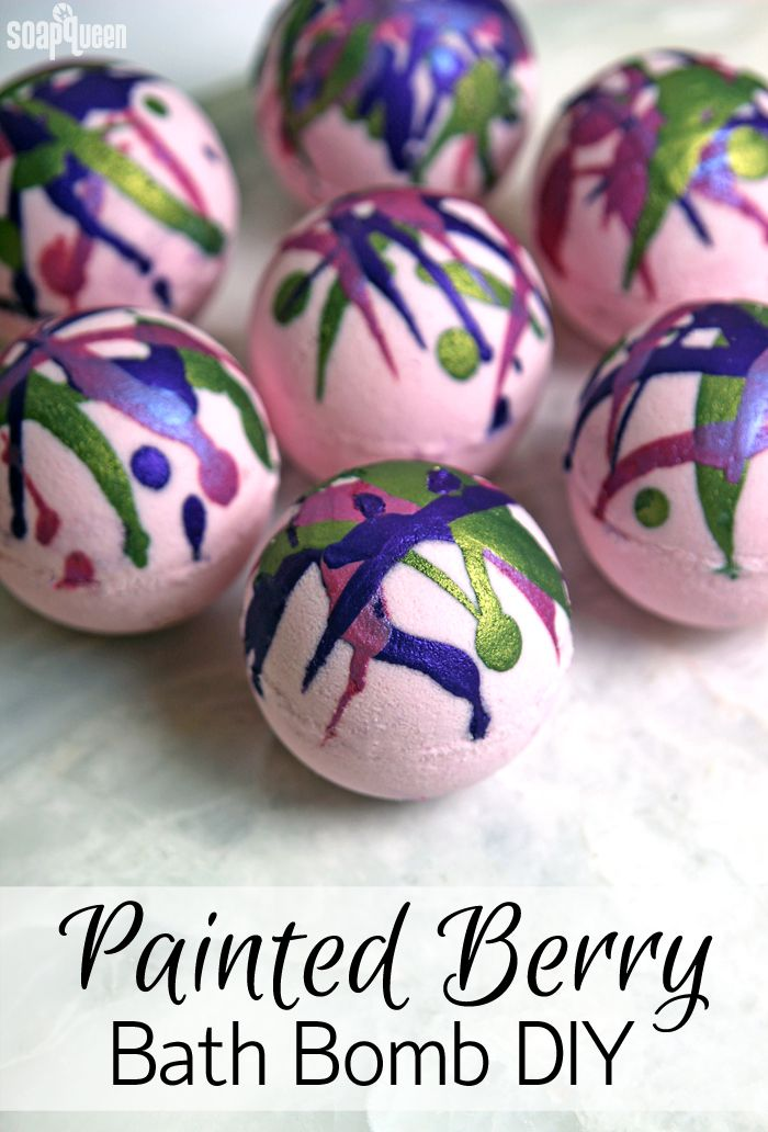 """Painted Berry Bath Bomb DIY. These bath bombs are """"painted"""" with a mixture of mica and alcohol for a fun splatter effect."""