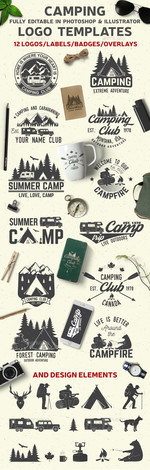 Camping Club Set of Camping club badges with design elements. Vector illustration. Concept for shirt or logo, print, overlay, stamp or tee. Vintage typography design with rv trailer, camping tent, man with guitar and forest silhouette.  Colors: RGB  ZIP file includes: 1 AI File ; 13 EPS10 v10(100 % clean vector. Only expanded shapes and closed paths); 13 PNG with transparent background; 13 PSD; 13 JPG 4167×4167 (300dpi); 1 readme.txt File; Objects are in groups for easy handling. Multiple…