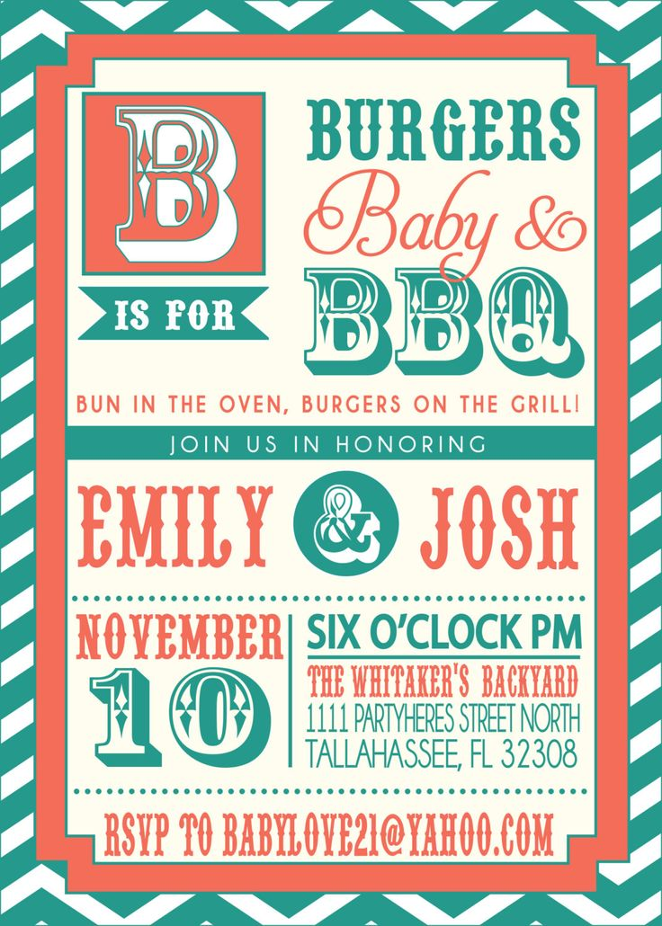 Loving The Colors (not The Theme) COUPLES Bbq BABY SHOWER Invitation.  $18.00,