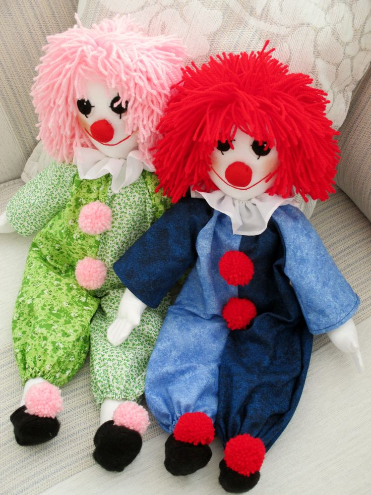 Clowns that I have made. Always popular. Pattern was taken from an old book I have called Learn To Make Soft Toys.