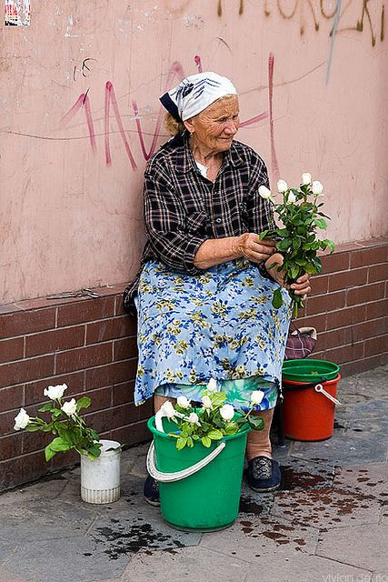Selling flowers on the street - Moscow, Russia…