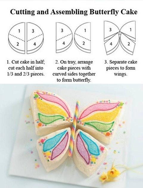 Já imaginou em fazer um bolo em formato de borboleta? Sim, olha só como você deve cortá-lo para obter os pedaços!