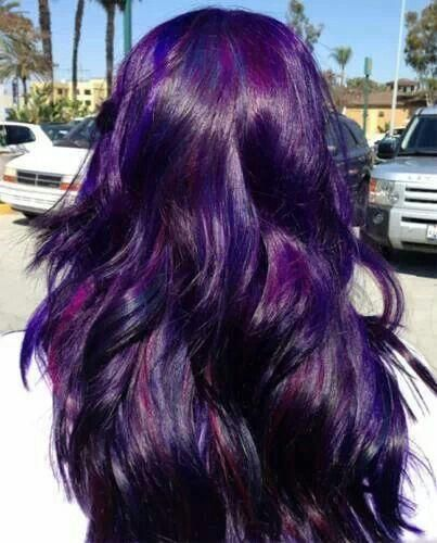 Maybe I could do this with my black hair and the purple only comes out in light