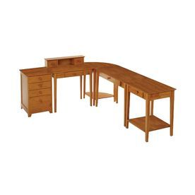 winsome wood studio 5 piece honey country home office furniture set 99555