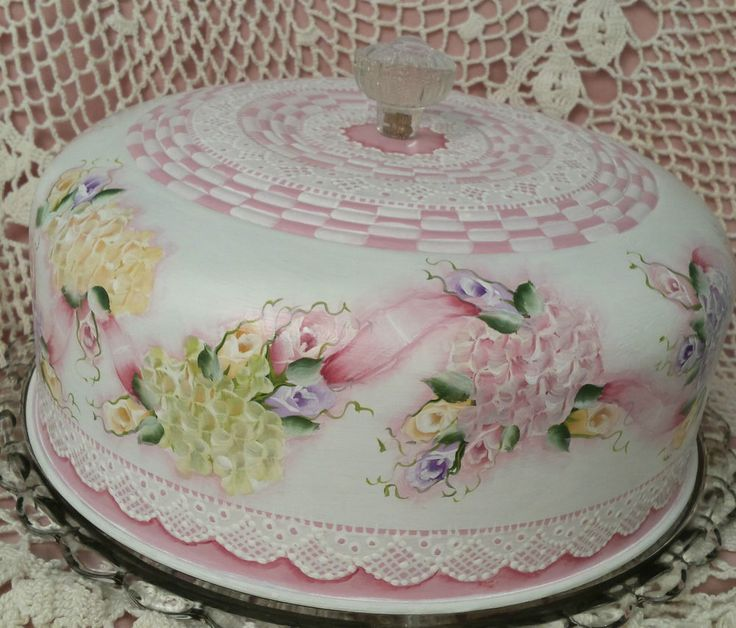 Hand Painted Vintage Cake SaverCottage Chic Roses Hydrangeas Shabby Lace HP & 72 best Cake Plate/Cover/Stand images on Pinterest | Cake plates ...