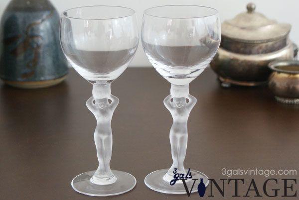 Vintage Bayel 2 Piece Wine Glass Set in Naked Lady Design, Made In France. $35.00