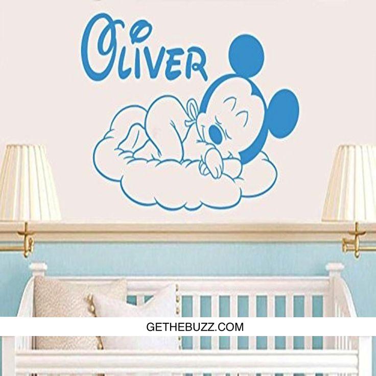 Creative New Mickey Mouse Goodnight Custom Kids Name Baby Wall Sticker – GetheBuzz