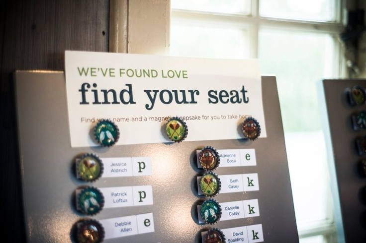 Magnet board seating chart. Handmade beer cap keepsakes.     Photo by @Matthew Addonizio Celeste of Blueflash Photography