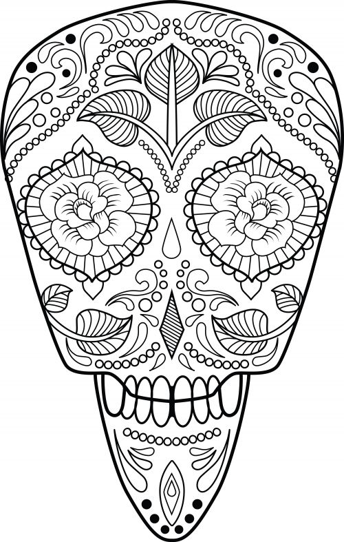 317 best Skull Day of the dead coloring! images on