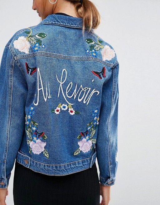 new look new look veste en jean motif souvenir brod diy pinterest vestes en jean. Black Bedroom Furniture Sets. Home Design Ideas
