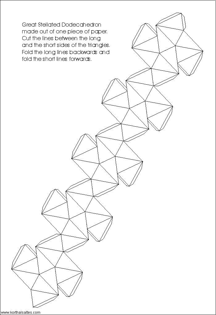 desarrollo plano de un gran dodecaedro estrellado