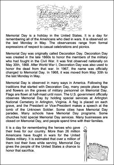 Free Printable Memorial Day Worksheets For Kids Yahoo Image Search