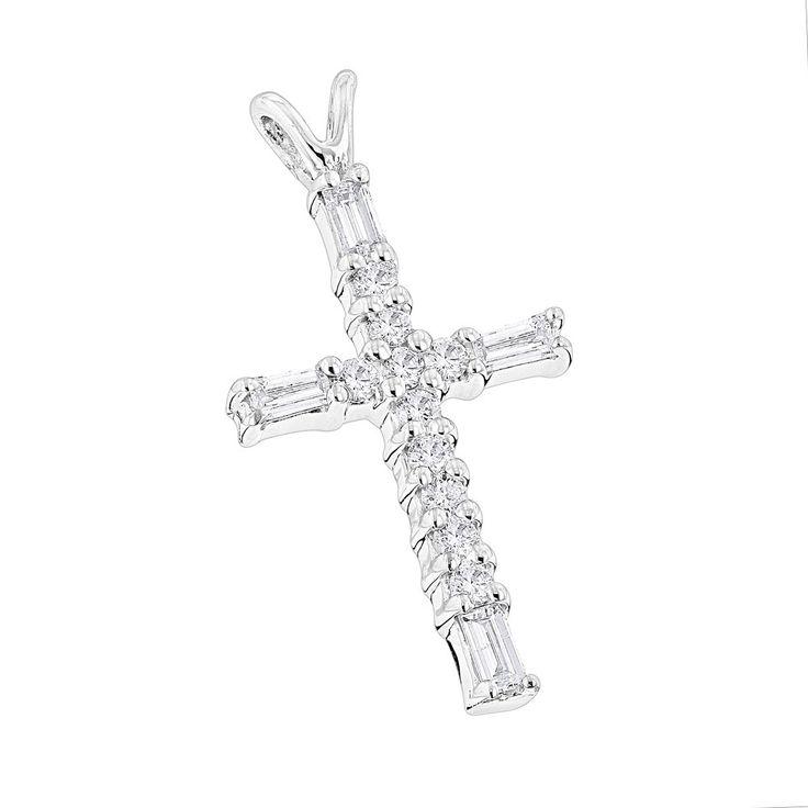 14K Gold Baguette & Round Diamond cross necklace 0.35ct