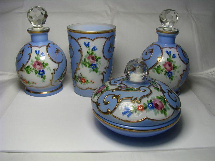 CZECH VINTAGE VANITY GLASS PERFUME SET BOTTLES POWDER JAR CUP Czechoslovakia1930 #Unknown