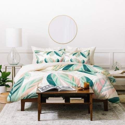 deny designs floral zoe wodarz painterly palm duvet cover set green rh pinterest com