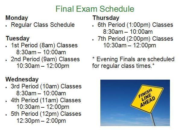 Final exam schedule for September 8-12