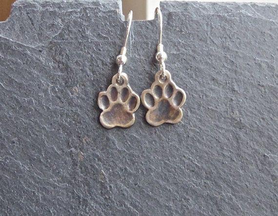 Paw Print Earrings Animal Print Earrings fine silver by MeltSilver