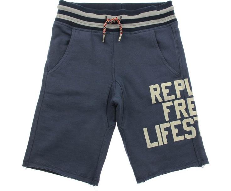 Replay Junior Boys Navy Branded Jersey Shorts