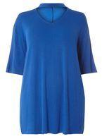 Womens DP Curve Plus Size Cobalt Choker T-Shirt- Cobalt