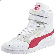 The Sky II is a classic PUMA basketball shoe first introduced in 1980. This feminine version features a smooth and fashionable upper and ensures a perfect fit. Comfortable full-grain leather upper. Padded collar and tongue for better cushioning. Perforations for improved breathability. Practical hook-and-loop straps for a better fit. Special outsole for increased ground contact.http://us.puma.com/en_US/pd/sky-ii-hi-basic-sports-wns/pna888533663295.html