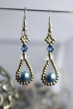 Tutorial for earrings 'Pearl Drop' - English 11/0, 6/0, 4mm crystal, 6mm pearl
