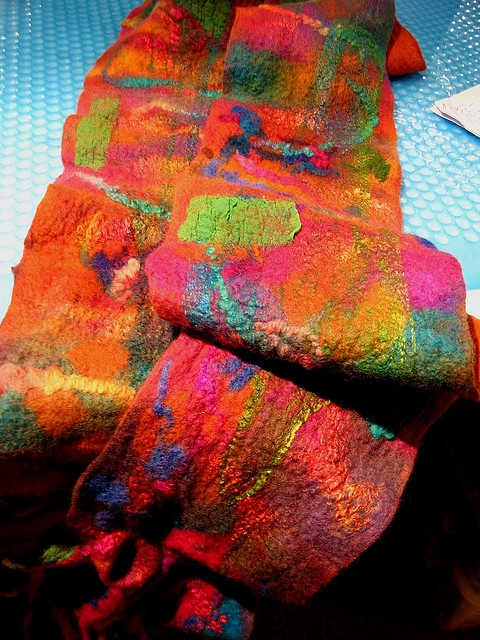 felting with added fabric scraps