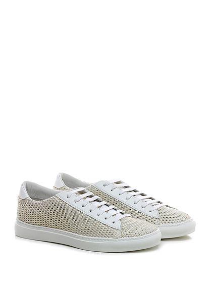 Be Positive - Sneakers - Uomo - Sneaker in pelle e tessuto a retina con suola in gomma. Tacco 30. - GOLD\WHITE - € 215.00