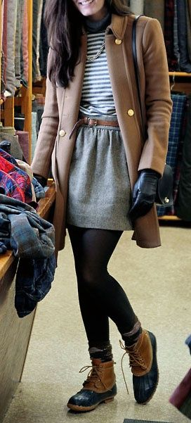 Gold buttons, grey wool skirt, llbean duck boots..cute winter outfit