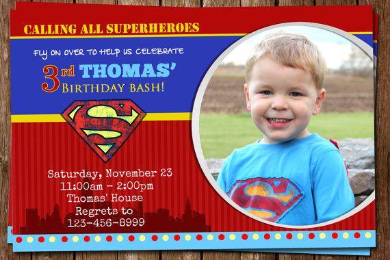Awesome Superman Invitation by elenasshop on Etsy, $15.00