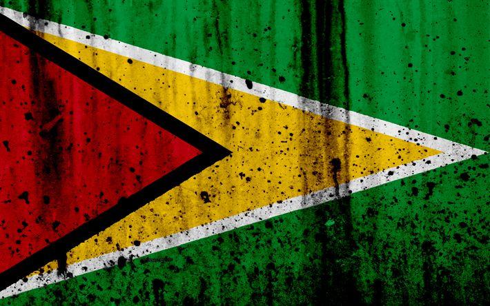 Download wallpapers Guyana flag, 4?, grunge, South America, flag of Guyana, national symbols, Guyana, coat of arms of Guyana, Guyanese national emblem