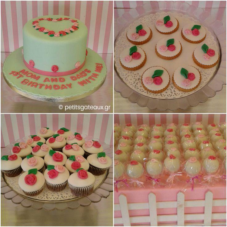 Cake pops, mini cupcakes, μπισκότα και τούρτα για τη βάπτιση και τα γενέθλια μιας μικρούλας!