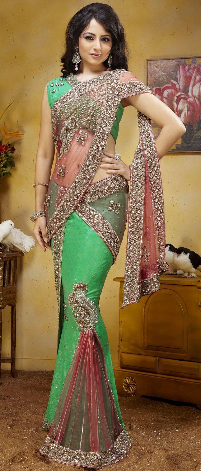 Peach #Net and Sea Green Jacquard #Lehenga Style #Saree with Blouse @ $237.69