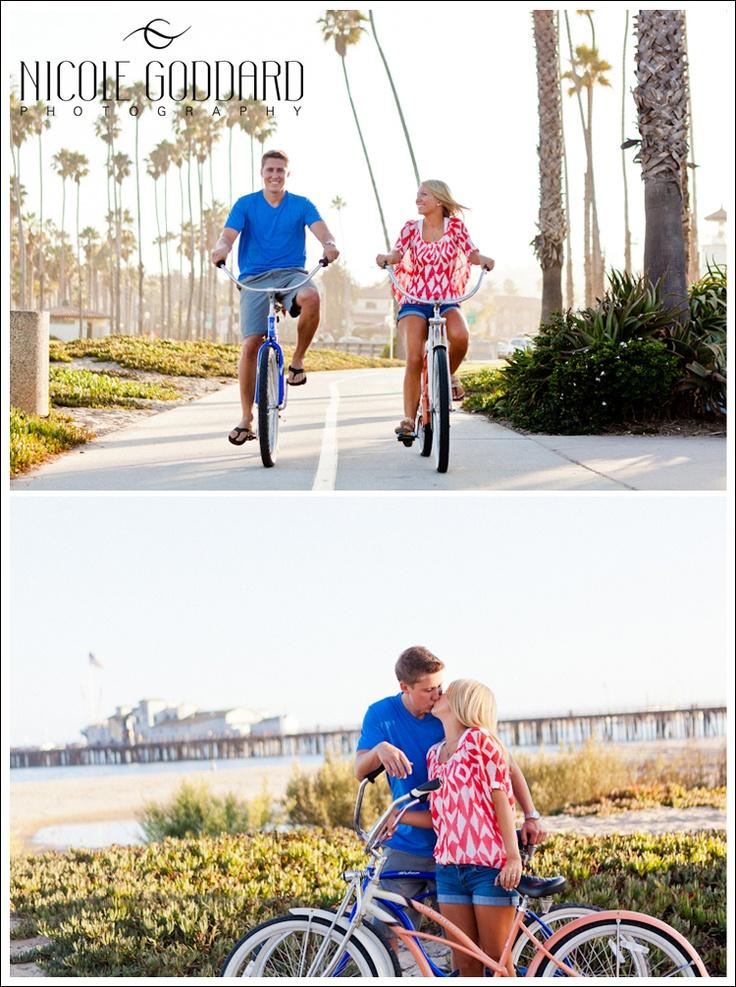 Engaged couple. LOVE. Santa Barbara, CA. Beach Bike Cruising.  © Nicole Goddard Photography | www.nicolegoddard.com: Couple S Getaway, Engagement Session, Bike Cruising, Goddard Photography, Www Nicolegoddard Com, Wedding Engagement Photography