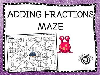 Adding Fractions maze is an engaging way to practice adding fractions with like denominators and adding fractions with improper fraction answers and adding fractions with unlike denominators. With the adding fraction maze, students will forget that they are adding fractions, they'll be having way too much fun!