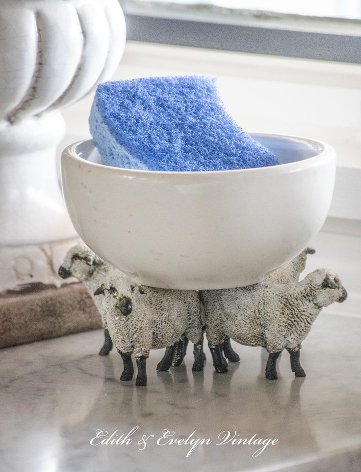 Create a unique farmhouse style soap dish for your kitchen sink! Using toy store sheep! www.edithandevelynvintage.com