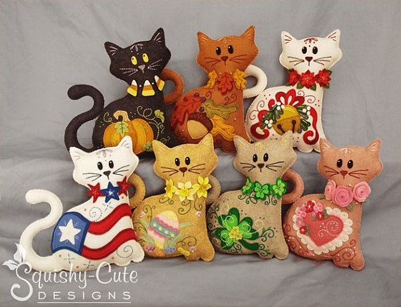 Cat Stuffed Animal Pattern Felt Plushie by SquishyCuteDesigns Buy the patterns and it downloads instantly PDF file.