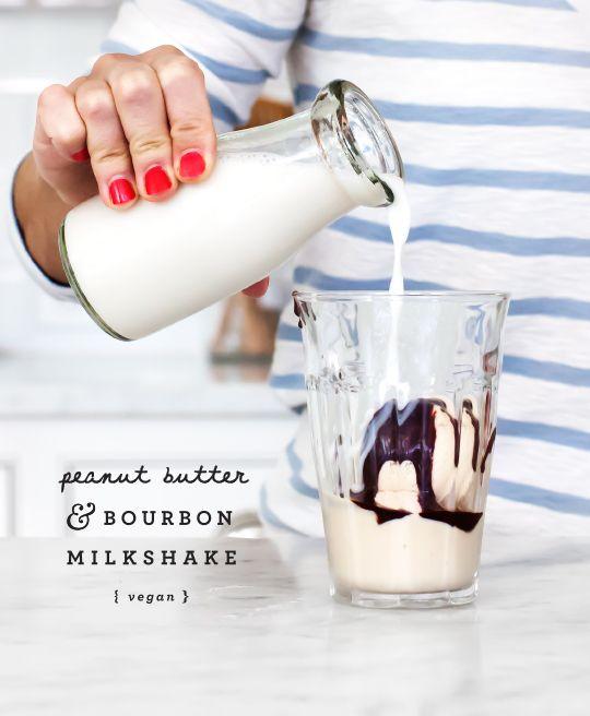 vegan peanut butter bourbon milkshake | LoveandLemons.com
