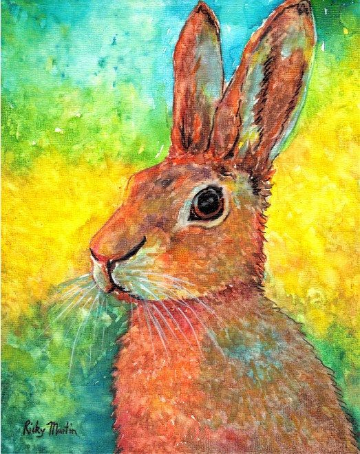 Easter Bunny,  Fine Art Giclee Print - enhanced with Acrylic  Paint  on Canvas Sheet from my original Painting - ebsq Artist Ricky Martin