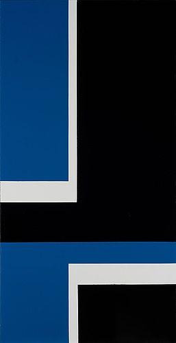 Lars-Gunnar Nordström: Konstruktio, 1979-81, öljy levylle, 122x62 cm - Bukowskis Modern 2015
