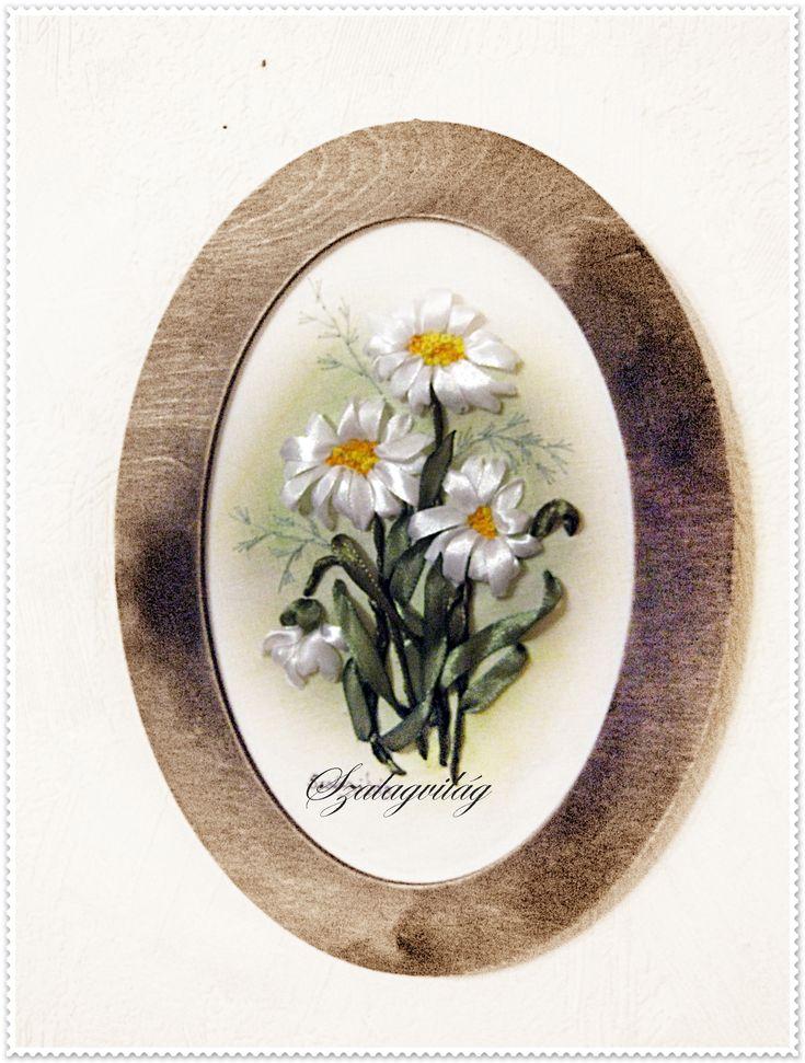 margaréták-ribbon embroidery