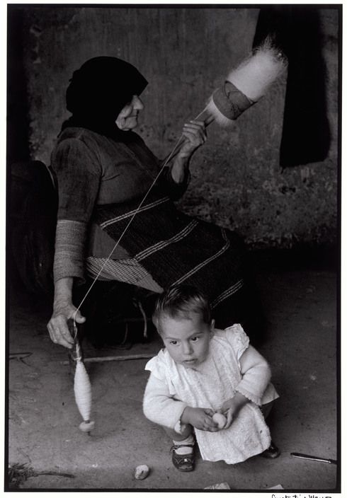 GREECE. Crete. 1962. Grandmother carding wool.