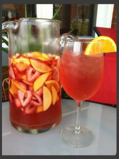 Peachy White Zinfandel Sangria~ 1.5 L White Zinfandel, 1 C peach schnapps, 1/4 C triple sec, 1/2 lemon sliced, 1 1/2 oranges sliced, BIG handful of strawberries sliced, 2 nectarines sliced