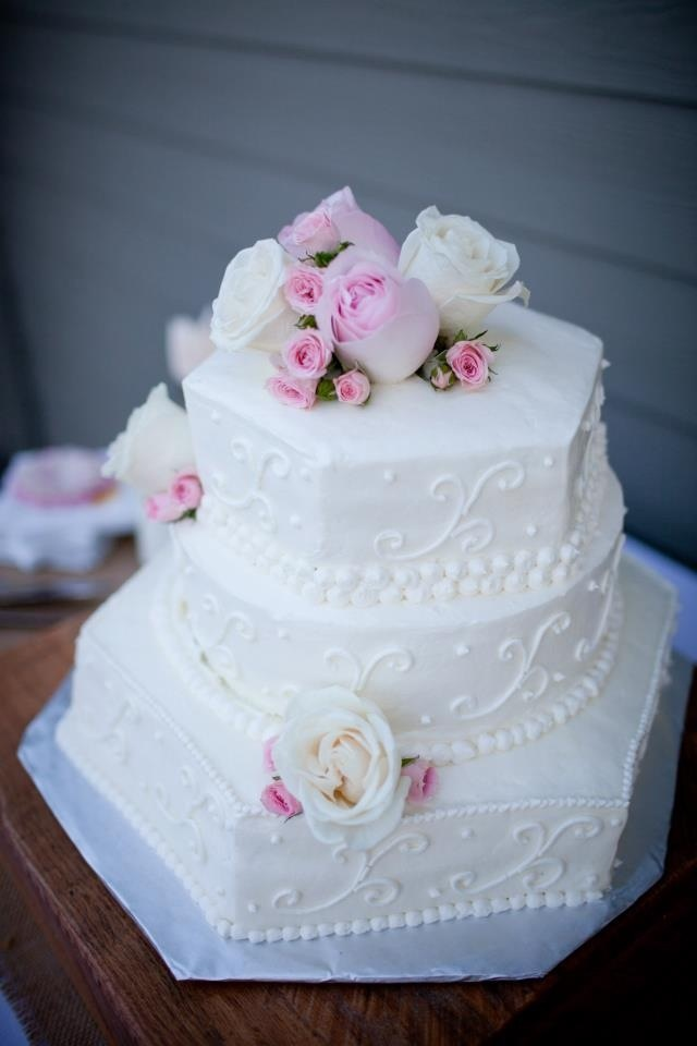 shabby chic bridal shower cakes%0A Shabby chic cake  White wedding cake with pretty details and pink roses