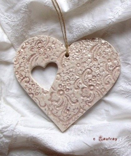 Ceramic heart to hang.