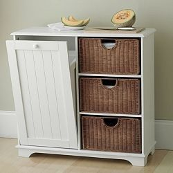 """Might be good for that short kitchen wall, garbage can, basket storage, and buffet type counter area?  Not sure how I feel about the """"combination"""" of garbage and everything else but saves space and conceals the garbage can.:)"""